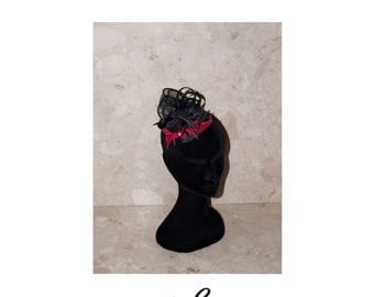 Black and red Fascinator handmade in sinamay fabric, leather leaf.