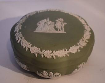 Wedgwood Jasperware Trinket Box Sage Green