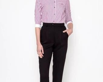 High Waisted Pants (Black) / Retro Pants / Viscose Pants / Vintage Pants / Vintage Trousers / Pleated Pants