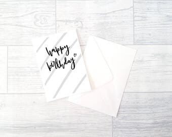 Birthday Card | Hand Lettered | A6 | Happy Birthday Stripey
