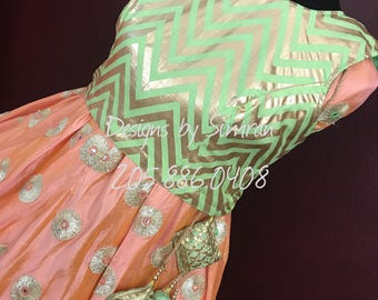 TAAZGEE - A High Waist Salmon Lehenga Skirt & Seafoam Green Crop Top
