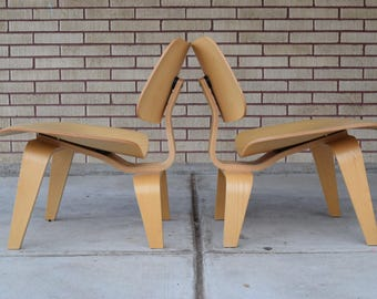 Pair of Authentic Herman Miller LCW's Designed by Charles Eames