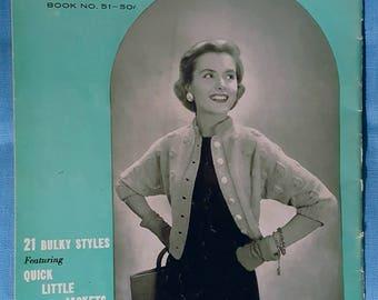 1956 Bernat Handicrafter 21 Bulky Styles Quick Little Jackets, Shrugs, Cardigans Knitting Pattern Book
