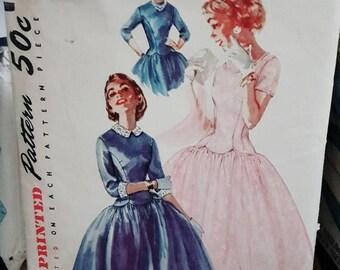 1ST ANNIVERSARY SALE 1955 Simplicity 1373 Junior's Drop Waist Party Dress Size 11 Cut Complete Sewing Pattern ReTrO Cute!