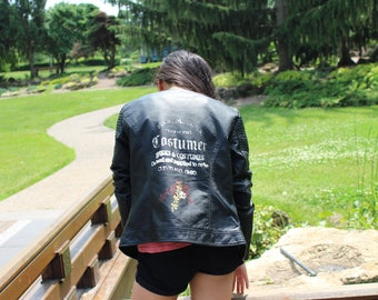 Upcycled Black Leather Jacket with Design