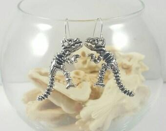 Dinosaur Earrings, Dinosaur Skeleton Earrings, T Rex, Tyrannosaurus Rex Earrings, Dinosaur Jewlery, Clearance Earrings, Sale Earrings