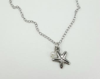 Dainty Starfish and Pearl Necklace, Starfish Jewelry