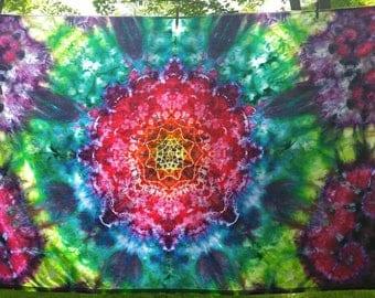 FREE SHIPPING tie dye mandala tapestry 72x42 ice dye