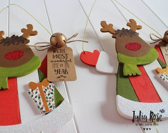 Sweet Hand Painted Wooden Hanging Christmas Personalised Rudolph Decoration For Home