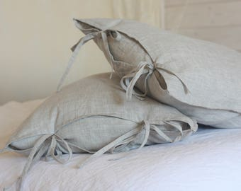 linen pillows, Linen Pillowcases with ties, Standard Queen King size pillowcase