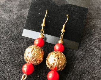 Gold Design Sphere with Two Red Sphere and a Gold Heart Earrings