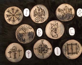 Various Wood Burned Discs