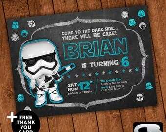 Star Wars Invitation with FREE Thank You Card - Star Wars Invite - Star Wars Birthday Invitation - Birthday Party - Digital File Download