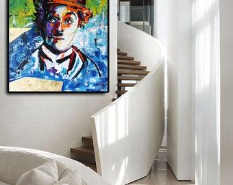 GICLEE PRINT, Charlie CHAPLIN Print Canvas, Large Print Art, Modern Print Decor, Wall Art Decor by Kathleen Artist