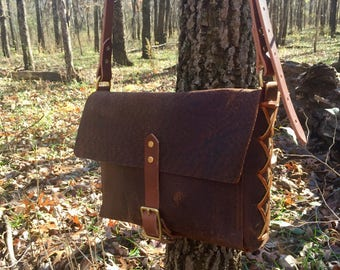 Leather Satchel, Vintage Style, Purse, Messenger Bag, Handbag, Crossbody, Field Bag, Shell Bag