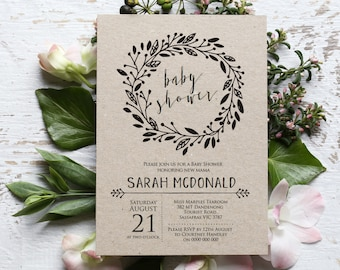 Rustic Baby Shower Invitation Template, Editable Wreath Printable Gender Neutral, Rustic Baby Shower Invite, Instant Download PDF