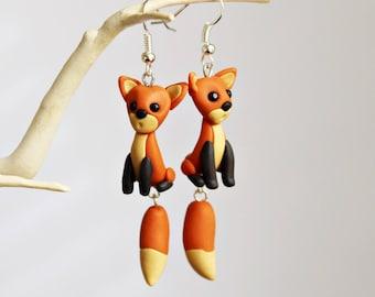 Polymer Clay Earrings - Cute Fox Earrings - Clay Foxes - Animal Earrings - Drop Earrings - Statement Earrings - Red Fox Jewellery - Cute Fox