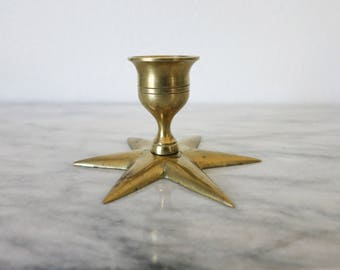 vintage brass star candlestick boho chic candle lover gift brass wedding candle