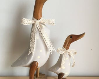 Elephant's Breath duck and duckling pair with cream spots and lace ribbon