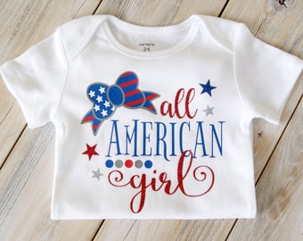All American Girl - Baby Girl Onesie - Holiday - Fourth of July - America