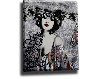 Asian woman, woman painting on canvas, woman art, woman home decor, woman large wall art