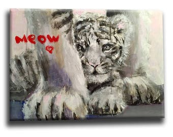 White tiger, tiger acrylic painting on canvas, tiger wall art, animal painting, tiger home decor