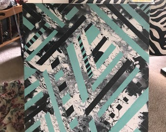 Liquid acryllic - black white and teal
