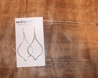 Silver Pear Marquis Earrings | Simple Teardrop Hoop Earrings