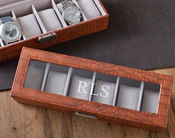 Watch Box, Personalized Mens Watch Box, Evgraved Watch Box,  Monogrammed Watch Box, Husband Gifts, Gifts for Dad, Gifts for Him