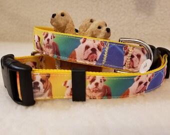 Bulldog Handmade Dog Collar 1 Inch Wide Large Or Medium