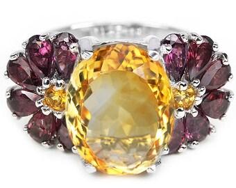 Natural 13x11 mm AAA Citrine & Rhodolite Garnet Sterling 925 Silver Ring 14K White Gold Coating