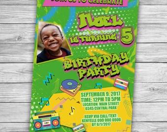 Retro Invitation Card, 80s look, Fresh prince of bel air, Birthday Card, Party Card, Disco