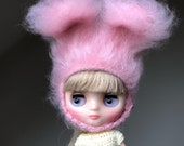 MIDDIE SIZE pastel pink extra furry Blythe bunny hat