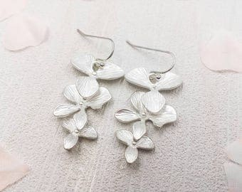 Matte Silver Orchid Earrings, Silver Cascade Orchid Flower Drop and Dangle Earrings, Party Wedding Bridal Bridesmaid Sister Mom Gift for Her