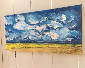10x20 inch Original Landscape Acrylic Painting - Alberta Canada Praires Textured Painting - Titled 'What we see?'