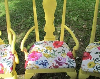 Floral Yellow Chair
