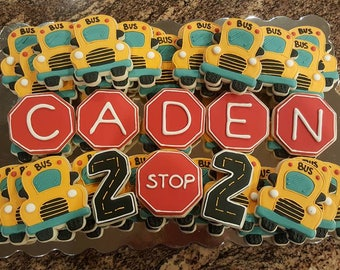 School Bus Theme Birthday Back to School Royal Icing Decorated Sugar Cookies (2 dozen)