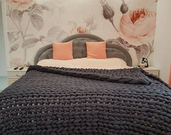King Size Chunky Knit Bedspread. Arm Knit Bulky Blanket. Oversized Tick Wool Knit. Giant Merino Throw. Wedding gift. Housewarming gift.