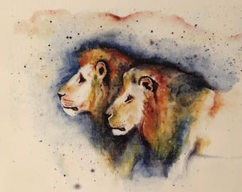 Watercolour lion painting