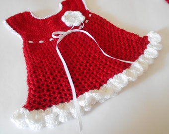 Crochet Red and White Baby Dress Set with Booties and Headband, Holiday Dress ,Party Dress, Birthday Dress. Pictures, Dress up