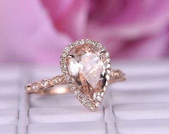 8x12mm BIG Morganite Engagement ring/Diamond in 14k rose gold/Halo Stacking ring/Art deco wedding ring/Pear cut pink morganite ring/Milgrain