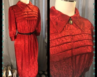 Have YOU RED the SCRIPT - Womens Fabulous Vintage Dress// Red// Hollywood Glam// Pinup// Dapper//