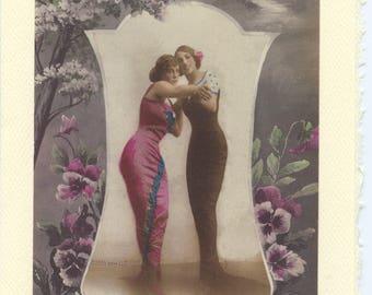 Tango: Vintage LGBTQ+ Card - lesbian engagement card, newlywed lesbian wives, first dance, married lesbians card, gay girlfriends card