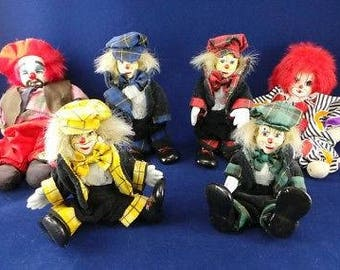Vintage lot of 6 Porcelain clown dolls Collectible