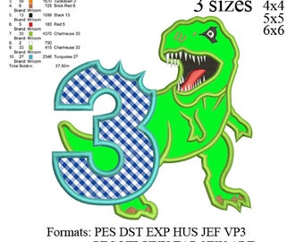 Scary T-rex Dinosaur Applique birthday Embroidery Design,Dinosaur embroidery pattern No 577 ... 3 sizes