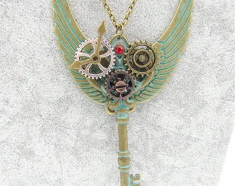 Steampunk Style Key Pendant  Ball Chain Punk