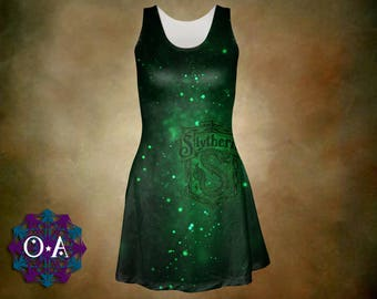 Slytherin Dress - Harry Potter Dress Magical Dress Hogwarts Dress Hogwarts House Dress Plus Size Dress Slytherin House Oddity Apparel