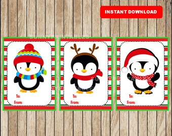 Penguin Gift Tags - Christmas Favor Tags - Christmas present tags - holidays tags - Instant Download