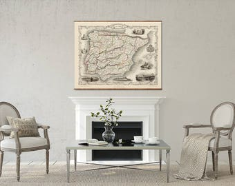 "Map of Spain and Portugal, 44""x 56"", Canvas Map, vintage map, antique map, large canvas map, ancient maps, map of Spain, roll down map"