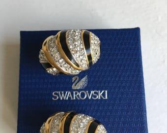 Swarovski vintage earrings Swan  signed